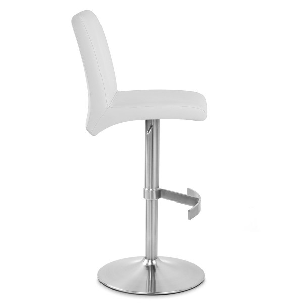 Taburete Polipiel Satinado - Deluxe High Back Blanco