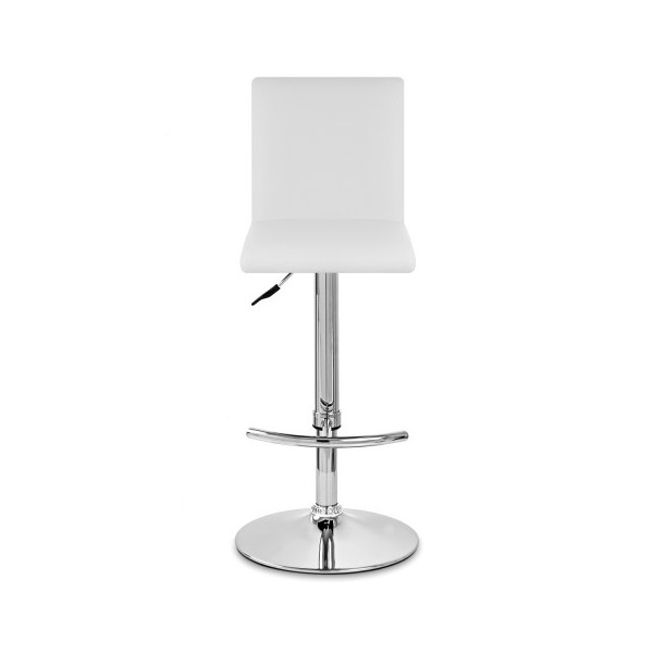 Taburete Polipiel Cromo - Deluxe High Back Blanco
