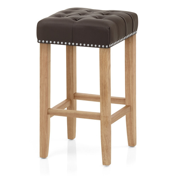 Chelsea Oak Stool Bonded Leather